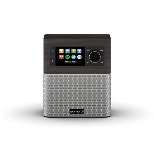 sonoro Stream Internet-Radio mit Bluetooth und DAB Plus (UKW, MP3, Spotify, Amazon, Deezer, spritzwassergeschützt) Design Küchenradio Mooreiche/Silber