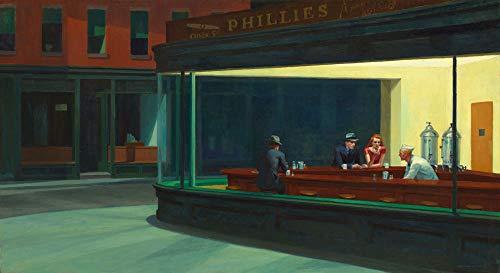 Nachtschwärmer Nighthawks von Edward Hopper Mitte des Jahrhunderts Kunst Mitte des Jahrhunderts Gemälde Hopper Gemälde Nightthawks Gemälde Cafe Wand-Kunst modernes Ölgemälde (21x30cm (A4))