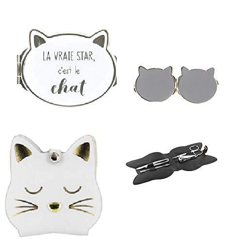 CMP- Set Manicure (dim: 11x10cm) + Miroir de Poche (8x7cm) Chat - Couleur Blanc