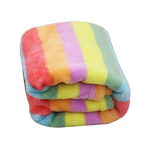 Ukallaite machen Sie Ihr Zuhause Schöne Tiger Haut Muster Rainbow Soft Flanell Teppich Katze Hund Puppy Pet Decke Matte, Flanell, Regenbogenfarben, Large