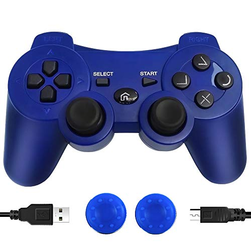 CFORWARD PS3 Controller Wireless, PS3 Joystick, Play 3 Remote Double Vibration 6-Axis Joypad Compatible with Playstation 3 Console Giochi(Blu)