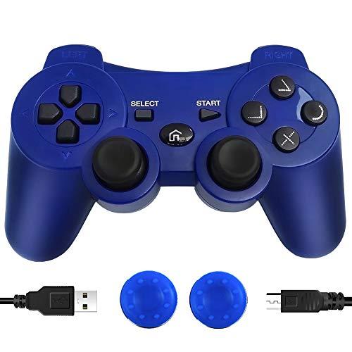 CFORWARD PS3 Manette sans fil, PS3 Joystick, Play 3 Remote Double Vibration 6-Axis Gamepad Compatible avec Playstation 3 (Bleu)