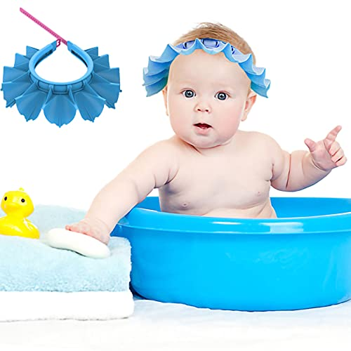 Baby Shower Cap Silicone Bathing Hat, Adjustable Shower Cap Kids, Infants Soft Protection Hat Safety Visor Cap Hat for Toddler Children (Blue, Small Size (0-8 Years old/14.5-19.7 Inches))