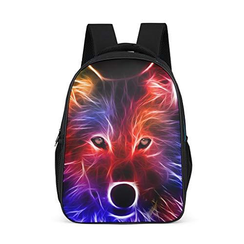 Mochila de lobo colorida, resistente al agua, mochila escola