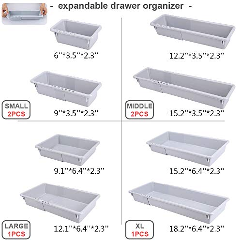 Mebbay Expandable Drawer Organizer Grey Plastic Makeup Junk Drawer Organizer for Bathroom Office Kitchen (6)