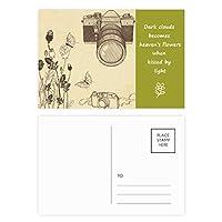 カメラの蝶のニース風のバラ 詩のポストカードセットサンクスカード郵送側20個
