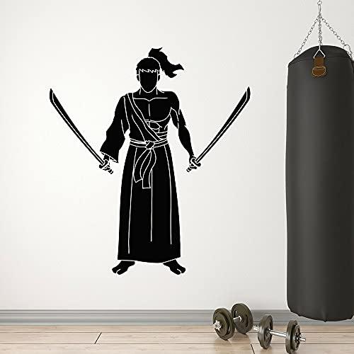 Calcomanía de vinilo para pared, diseño de espadas de Katana de combate de Japón Samurai Guerrero Pegatinas Gimnasio Dormitorio Decoración Murales extraíbles 80 x 90 cm