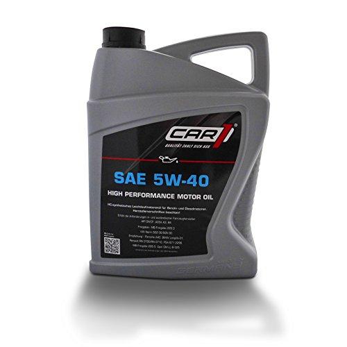 CAR1 motorolie 5W-40 lichtloop high performance motor motor olie benzine diesel benzinemotor benzinemotor dieselmotor motorEngine Oil 5L