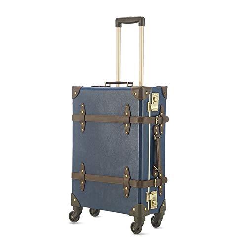 GGYMEI Maleta Vintage, Gran Capacidad con Tirante Adecuado for Viajes De Almacenamiento De Equipaje De Ropa Podría, 3 Colores 3 Tamaños (Color : Blue, Size : 49x20x33cm)