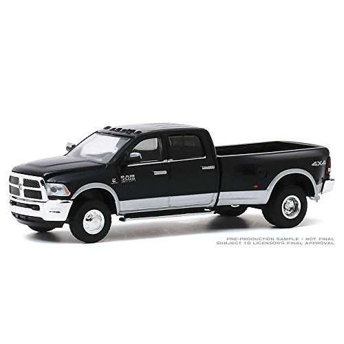 Greenlight 46040-E Dually Drivers Series 42018 Ram 3500 Dually Harvest Edition - Brilliant Black and Bright Silver 1:64 Scale