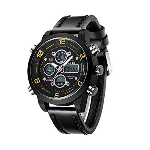 Libartly 6.11 Reloj De Pulsera De Doble Pantalla Único Multifuncional para Hombres Escalada Militar Natación 10 M Reloj Luminoso De Negocios A Prueba De Agua - Negro Y Amarillo