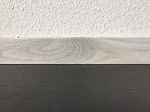 Fu/ßleisten mit MDF-Kern Fu/ßbodenleisten in den Ma/ßen 2,4m x 5,8cm Sockelleisten mit Nut Wildeiche braun MADE IN GERMANY Wandabschlussleiste mit r/ückseitiger Clipfr/äsung /& geradem Abschluss