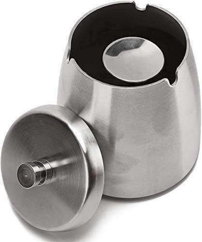 ZWR Cenicero portátil de Acero Inoxidable con Tapa, cenicero de Metal a Prueba de Viento con Base antiarañazos, Regalo para Uso en Interiores o Exteriores (Size : M)