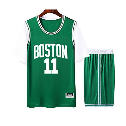 Irving Boston #11 Herren Damen Atmungsaktiv Basketballtrikot Rundhals Fake Zweiteiler Kurzarm Trikot T-Shirt 2er Set (S-4XL) S weiß