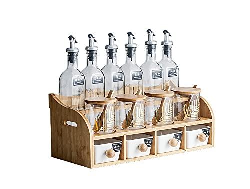 BERTY·PUYI Juego de recipientes de Almacenamiento, Taza de Bebida enlatada para condimentar, Recipiente de Almacenamiento de Vidrio