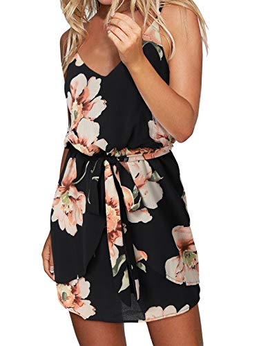 ACHIOOWA Sommerkleid Damen Blumen Ärmellos Strandkleid Elegant V-Ausschnitt Casual Talliert Partykleid Schwarz M