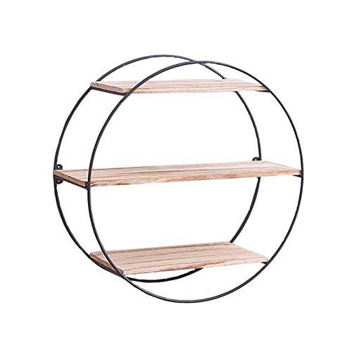 Estantes Circulares Flotante, Estante Colgante Decorativo De Pared De Metal Redondo De 3 Nivele En Madera Natural Y Metal Firme Soldado, Estante De Multifuncional Moderno Montado En La Pared
