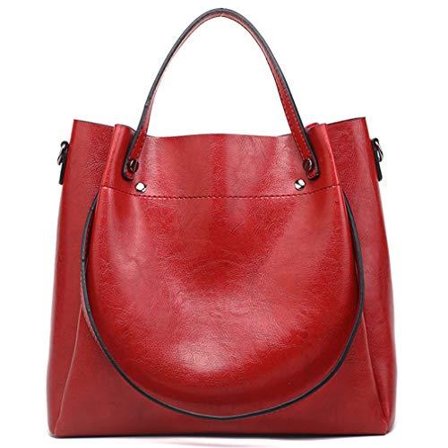 Pahajim Damen Ölwachs Leder Tasche Luxus Schulter Einkaufstasche Einfache Diagonal-Tasche PU Lederhandtaschen Ölwachs-Einkaufstasche Grosse Kapazität Beuteltasche(Rot)