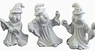 Ghosts with Broom, Skull, Black Cat and Pumpkin - (Set of 3) Halloween Ready to Paint Ceramic Bisque - Handcrafted in USA