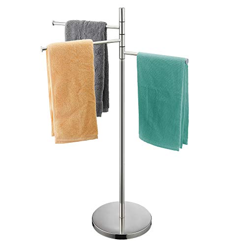 ALHAKIN Freestanding Bathroom Towel Rack Stand with 3 Swivel Arms, Stainless Steel