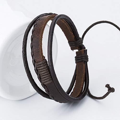FEIYI Pulseras de cuero para hombre, pulseras populares para niños y niñas, pulseras hechas a mano (Color de metal: Brown1102)