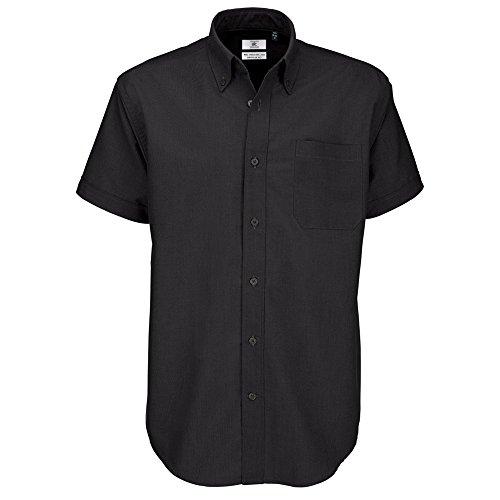 B&C Oxford Hemd für Männer, kurzarm (XL) (Schwarz) XL,Schwarz