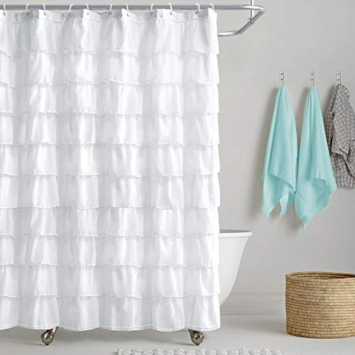 Reisen White Shower-Curtain Farmhouse Ruffle Fabric for Bathroom Sheer Cloth Shower Curtains 72 in Long