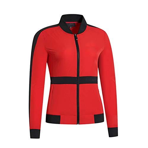 LGQ Zip Golfjacke Für Frauen Nähen Langärmelige Winddichte Jacke Herbst- Und Winter-Outdoor-Trainingsuniformen Dicke Golfkleidung,Rot,XL