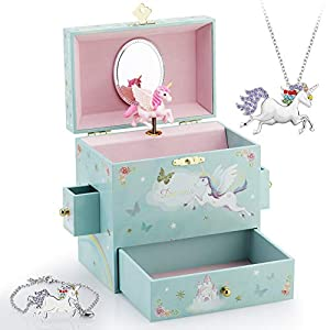 RR ROUND RICH DESIGN Kids Musical Jewelry Box for Girls with 3 Drawers and Jewelry Set with Mysterious Unicorn – Over…