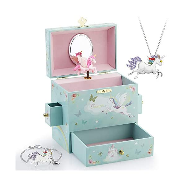 RR ROUND RICH DESIGN Kids Musical Jewelry Box for Girls with 3 Drawers and Jewelry Set with Magical Unicorn - Blue… 3