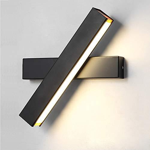 Wandleuchte LED Innen Wandlampe Warmweiß 12W Modern Wandbeleuchtung Eisen Wandlicht fast 360° Drehbare Eisen Wandlicht Wandleuchten für Schlafzimmer,Badezimmer,Wohnzimmer (Schwarz)