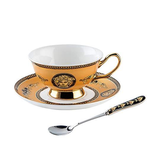 JIE. Europäischer Luxus Versace-Windkaffeetasse Teller kreativer einfacher Hauptknochen-Porzellansatz schicken Tellerlöffelregal,6pc