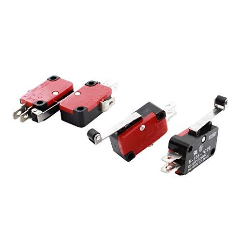 Sourcingmap - Bisagra de rotación de palanca no hay final de carrera micro actuadores nc 4pcs dc 125v 0.6a