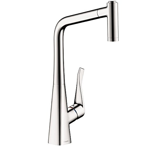 hansgrohe Metris Easy Install 1-Handle 17-inch Tall Kitchen Faucet with Pull Down Sprayer with QuickClean Magnetic Docking Spray Head in Chrome, 14820001