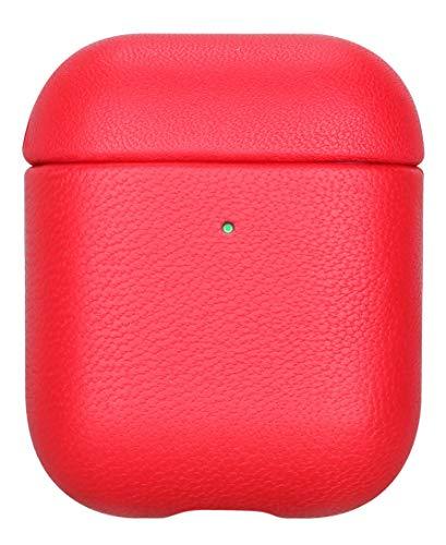 fooyin [Handmade Series Étui en Cuir pour AirPods, Protection Coque (Cuir de Mouton) Housse Compatible avec Apple AirPods 1 & 2, Rouge