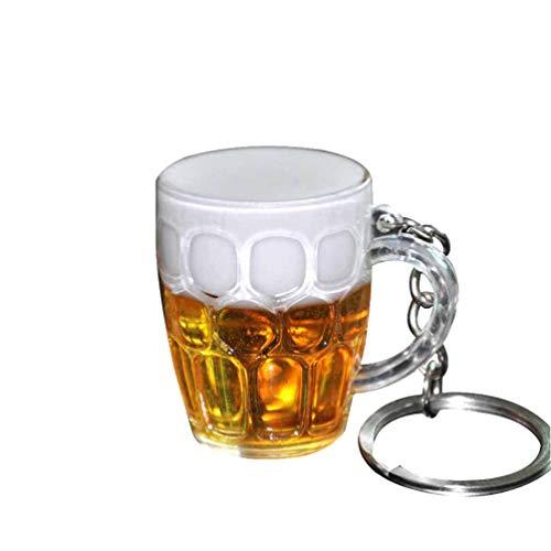 HEALLILY Llavero Encanto Taza de Cerveza Llavero Mochila Adornos Colgantes Regalo para Mujer Hombre