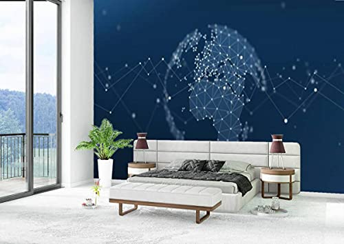 Canvas Wallpaper Self-Adhesive Removable Wall Painting Poster Sticker Craft Wall Sticker Pan Europe Geometric Network World Map Globe Polygon Graphic Home Decoration Bedroom Living Room