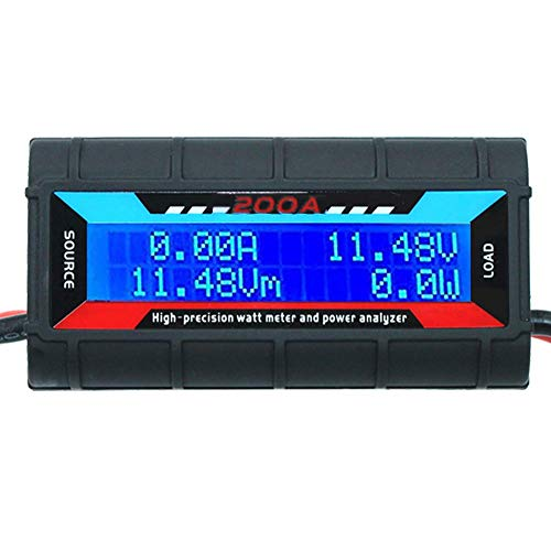 RGBZONE 200 Amps High Precision Watt Meter and Power Analyzer with Digital LCD Screen for RC, Battery, Solar, Wind Power