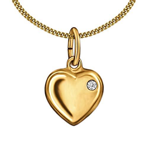 Clever Schmuck Gouden kleine meisjeshanger mini hart 9 mm 1 zirkonia in hartboog rechts glanzend 333 goud 8 karaat en vergulde ketting pantser 42 cm