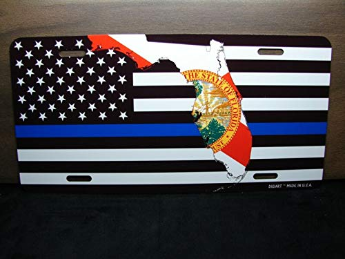 Florida Staat Vlag Dunne Blauwe Lijn Amerikaanse Vlag Metaal Aluminium Auto License Plaat Auto Auto Novelty Accessoires License Plaat Kunst