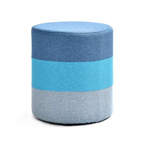 XLSQW Reposapiés de tela otomana reposapiés taburete bajo taburete redondo pequeño taburete de mesa de café taburete cambiador de zapatos moderno hogar sala dormitorio azul