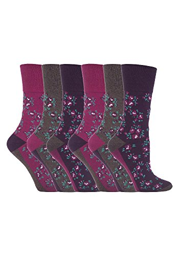 Gentle Grips 6 Parr Damen Elastische Socken, 37-42 eur blumen- Socken (Lila & Grau) GG58