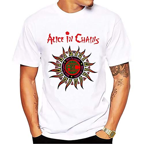 New Men's Letter Casual T-Shirts Alice In Chains Sun Printing Short Sleeve White Cotton T Shirt Brand Tees & Tops