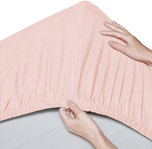 Pinzon Lot de 2 draps-housse en coton biologique 300 fils - 60x120 cm, Rosé