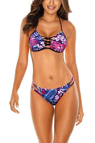 RELLECIGA Damen Bademode Push-up Triangel Bikini Set Criss Cross Rio S