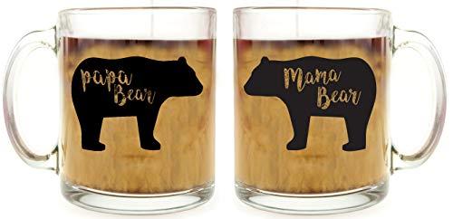 Mama Bear, Papa Bear Couples Mug - Funny Couple Mug - (2) 13OZ Glass Coffee Mug - Funny Mug Set - Mugs For boyfriend and Girlfriend and Husband and wife - By AW Fashions