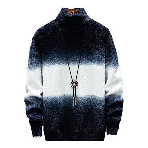 Wantess Suter de Cuello Alto para Hombre, Jersey de Moda con Bloqueo de Color, elstico, Suave, cmodo, Personalizado, Casual 3X-Large