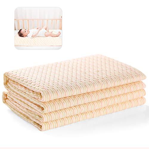Waterproof Baby Bed Pad Maveek 47.2'' x 27.6'' Baby Organic Mattress Pad Bamboo Blanket Toddler Bed Sheet Protector Reusable High Absorbent Mattress Protector Baby Diaper Changing Pad