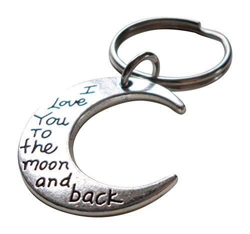 'I Love You to The Moon and Back' Moon Keychain, Moon Charm Gif