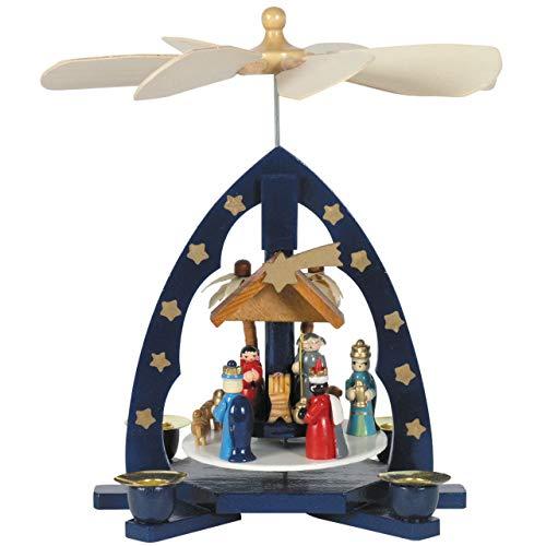 OBC Weihnachtspyramide/Krippenszene mit Heiligen DREI Könige blau/Pyramide Weihnachten/im Erzgebirge Stil, handgefertigt/Deko zu Weihnachten